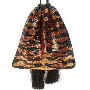 ATTICO Sequin Tiger Patterned Pouch Clutch Bag